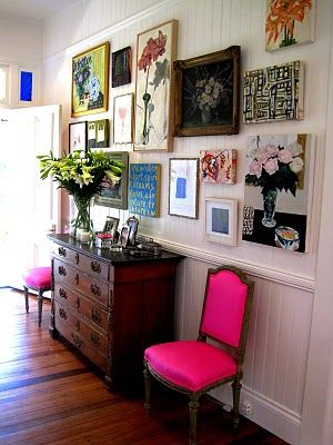 eclecticDecor, Wall Art, Ideas, Hotpink, Gallery Walls, Pink Chairs, Gallerywall, Hot Pink, Art Wall