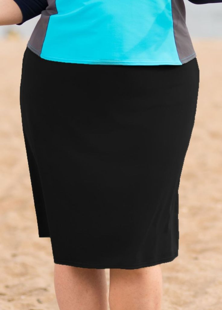 Ladies Black A-Line Plus Size Swim Skirt | ModLi