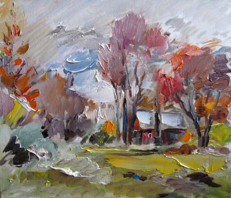 """Saatchi Art Artist Indie Ru; Painting, """"Red leaves"""" #art"""