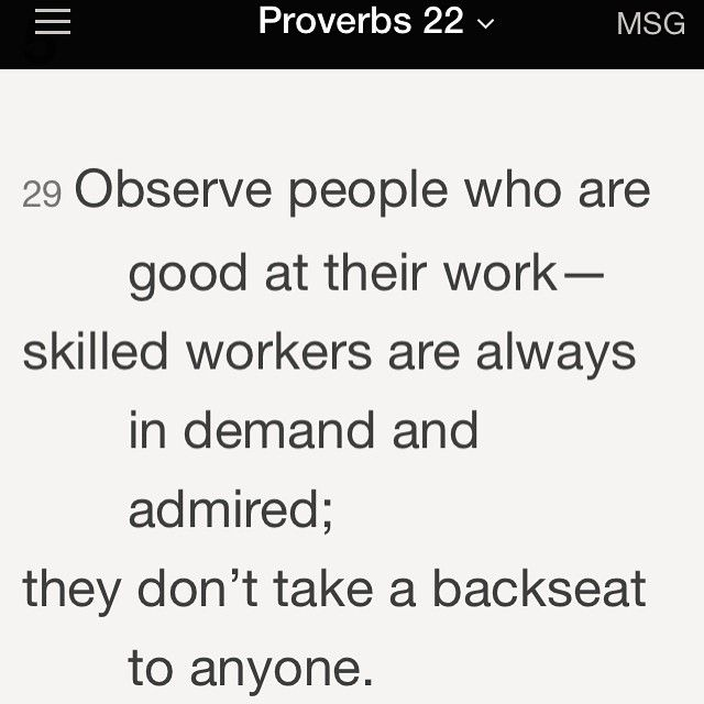 Goodmorning IG! Proverbs 22:29 I Love Gods Word! Our guide for a good life! #TheMessageBible