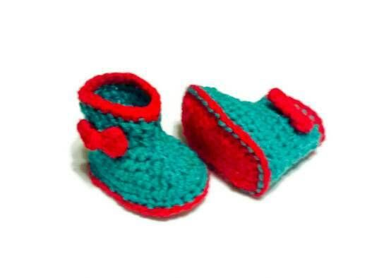 Crochet Baby Girl Boots with Bow Newborn Booties Slippers