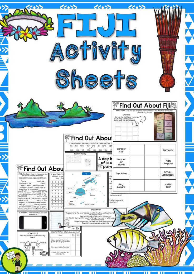 Help your students to learn about Fiji with our three-page activity sheet. It features eleven activities, and is ready to PRINT and GO! This would be perfect to use during Fiji Language Week: Sunday 8 October – Saturday 14 October 2017. #Fiji #LanguageWeek