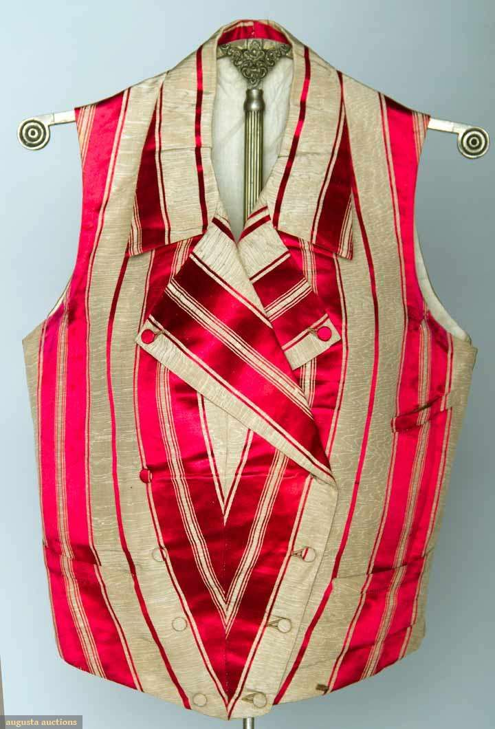 MAN'S SILK STRIPED VEST, AMERICA, 1840s I know it's too early but oh my gosh the stripes and shaping on the front....
