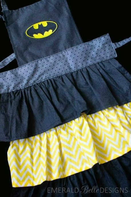 SUPER fun Batman apron for dress up or for cooking/baking. Comes in toddler size or child size. EmeraldBelleDesigns.etsy.com