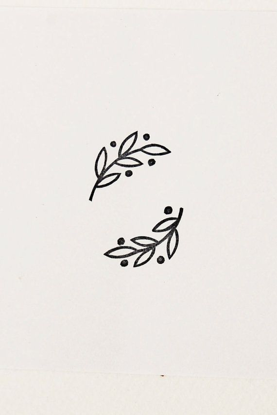 Small laurel stamp set of 2 Handmade olive branch por WoodlandTale