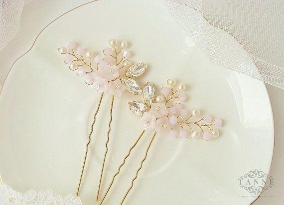 Blush Bridal Hair Pins Wedding Hair Accessory by DesignedByTanne