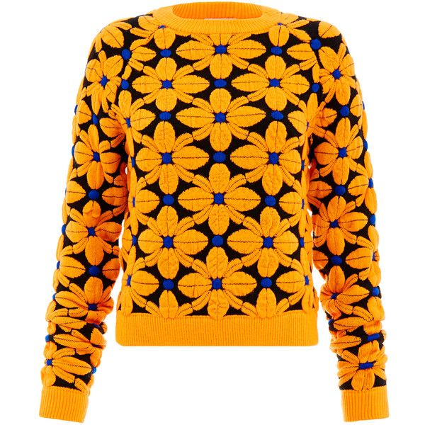 Emma Cook Floral Ski Orange Jumper found on Polyvore featuring tops, sweaters, orange, emma cook, orange floral top, ski jumper, jumper top and floral sweater