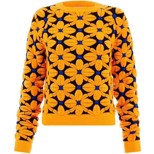 Emma Cook Floral Ski Orange Jumper found on Polyvore featuring tops, sweaters, orange, emma cook, orange floral top, ski jumper, jumper top and floral sweater