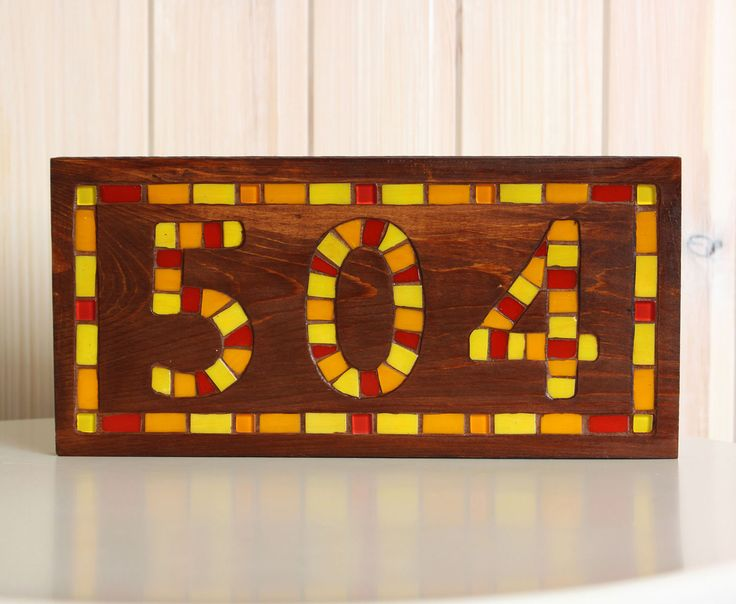 Address numbers rustic - House number sign - Wooden numbers - Outdoor numbers - House plaque - Personalized mosaic sign - House signs by MartelMosaic on Etsy