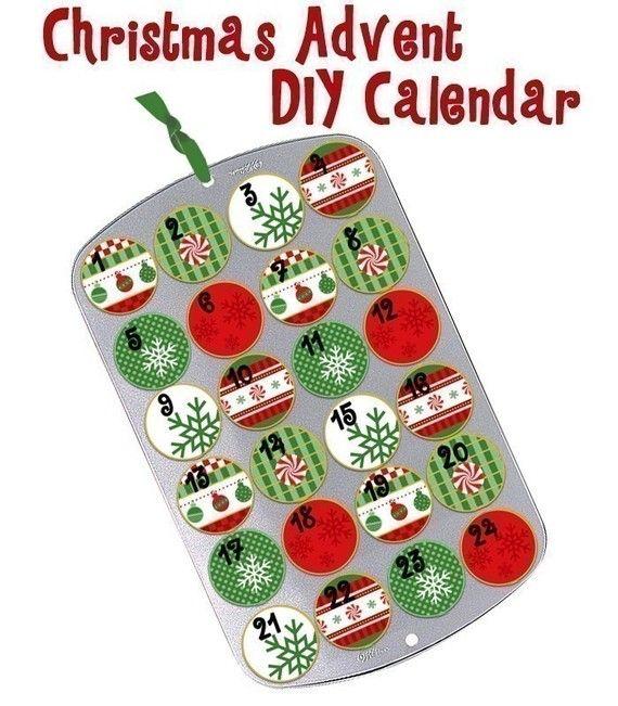 Noël Cupcake Muffin étain AVENT calendrier compte à rebours vert rouge flocon de neige menthe poivrée PDF fichiers numériques - téléchargement immédiat