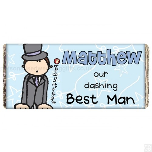 £5.95.Our delicious Personalised Wedding Chocolate Bar makes a fabulous wedding thank-you gift for the male wedding party members.Personalise the front with THEIR Name and Wedding role. You can also personalise the reverse with ANY Message of your choice. The wording 'our dashing' is as standard. Our Personalised Bang on the Door design is well known for its funky and bright design.Personalised Bang on the Door Wedding Male Chocolate Bar measures 16cm x 8cm x 1cm, Weight 100g and may contain…