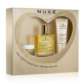 Illustration Coffret Coup de Cœur Nuxe 2015 - huile prodigieuse 50ml + crème mains 30ml + baume à lèvres 15ml