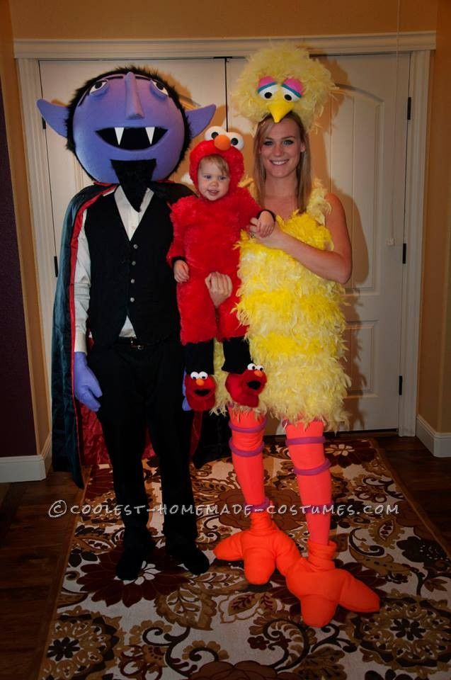 cool diy count big bird and baby elmo family halloween costumes - Baby And Family Halloween Costumes