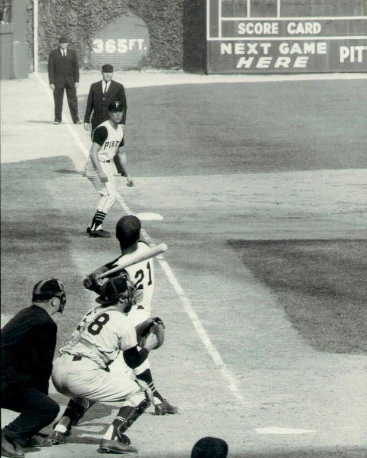 Roberto Clemente batting in the 1960 World Series at Forbes Field in Pittsburgh