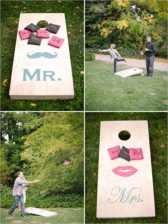 A fun idea for wedding lawn games; wedding corn hole!   Wedding Chicks