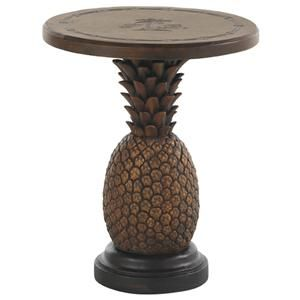 Tommy Bahama Outdoor Living Alfresco Living Sienna Pineapple Table with Weatherstone Table Top - Baer's Furniture - Outdoor End Table Boca Raton, Naples, Sarasota, Ft. Myers, Miami, Ft. Lauderdale, Palm Beach, Melbourne, Orlando, Florida