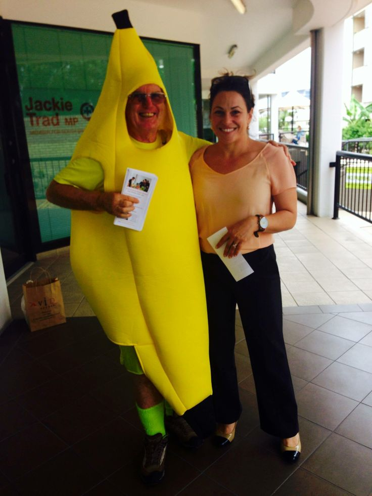"""In my alter ego, """"Bananaman"""" with Jackie Trad MP for South Brisbane"""