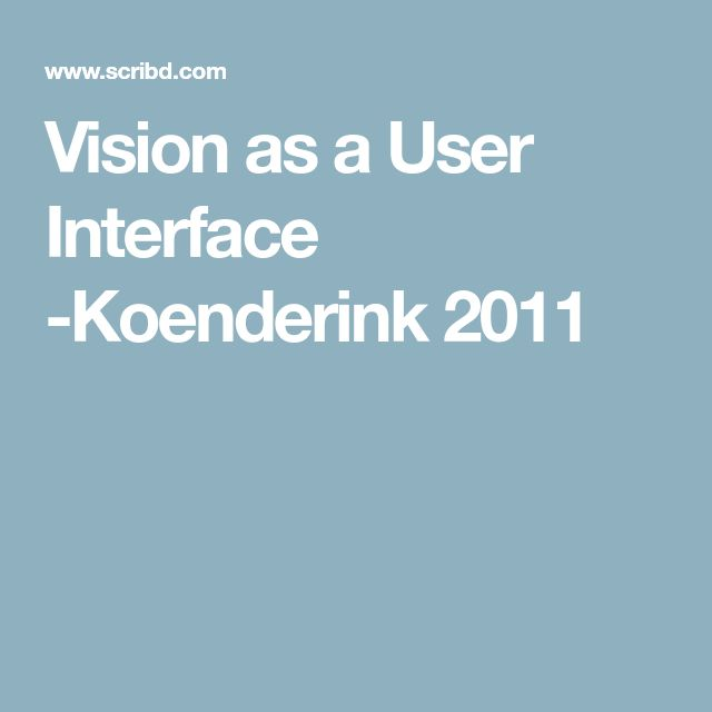 Vision as a User Interface -Koenderink 2011
