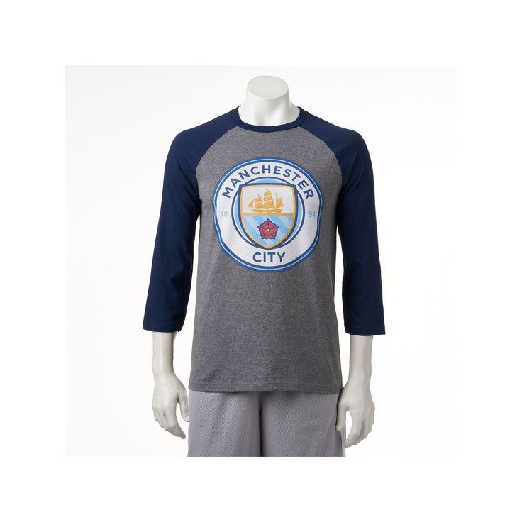 Men's Manchester City FC Raglan Logo Tee, Size: Medium, Blue (Navy)
