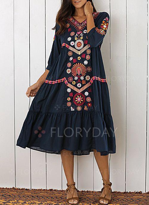 Платья - $54.12 - Повседневное платье из хлопока длины миди с цветочным принтом с рукавами 3/4 (1955121498)