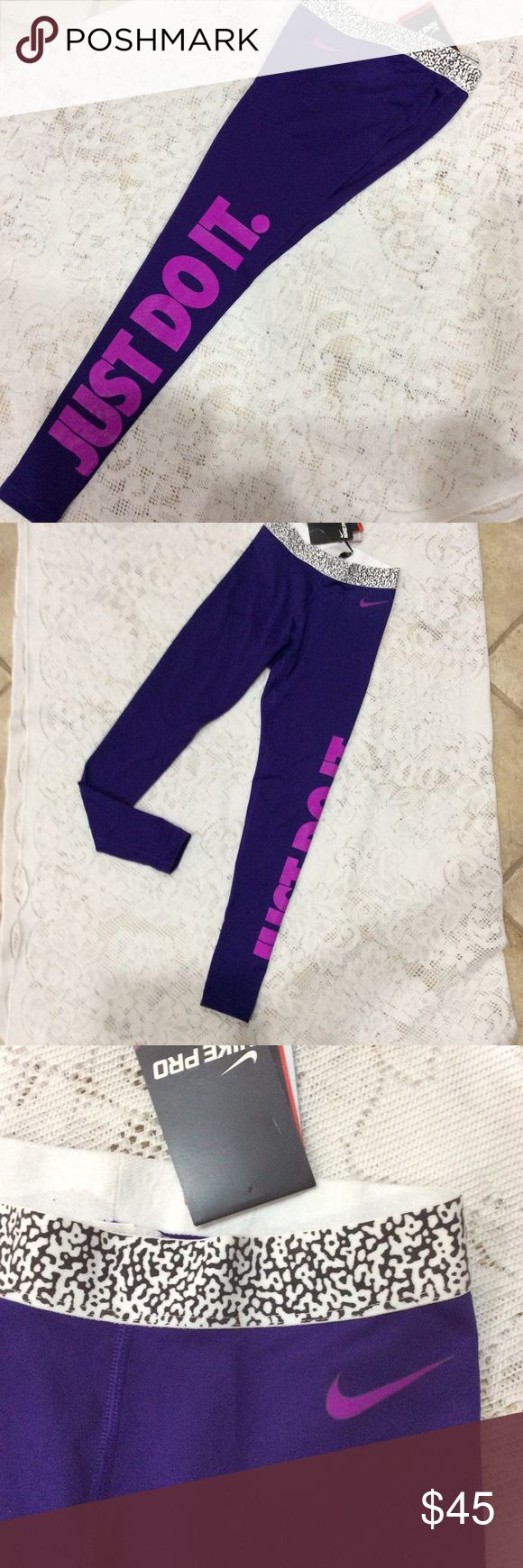 Nike Pro Hyperwarm training tights🌹 Nike Pro dri-fit Hyperwarm training tights. Deep purple with fuchsia lettering. Elastic waistband. Ladies size XS. NWT. Nike Pro Pants