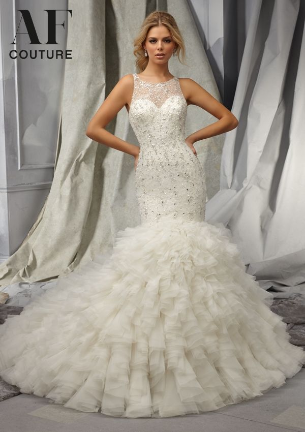 Nice Angelina Faccenda Bridal by Mori Lee Sparkling beads on Chantilly Lace with Tulle ruffles Available in lengths