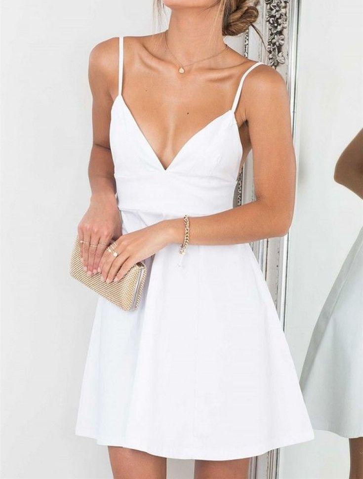 Sexy weißen Spaghetti-Trägern Heimkehr Kleid, V-Ausschnitt ärmellose, figurbetontes Cocktailkleid Heimkehr