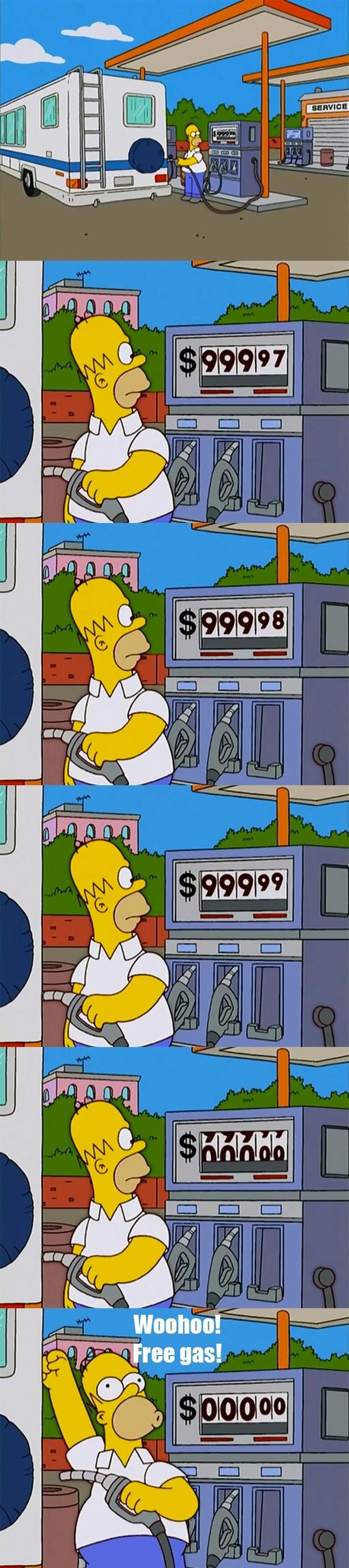 Homer wins the (gas) lottery: Not having to pay.