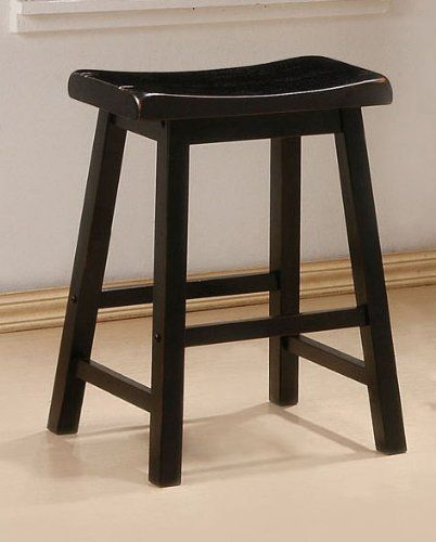 """2 Black Finish 24 Inch Barstools Bar Stool Chair Seat by Coaster Home Furnishings. $87.69. black bar stool. kitchen stools. barstools. bar stool set. barstool. These barstools will make a great addition to your home furnishings. Each seat features a black finish, foot rest and 24"""" seat height. Also available with 29"""" seat height. These stable barstools will be an ideal attachment to any bar or counter space. This price is for two barstools. Assembly Required. Dimensi..."""