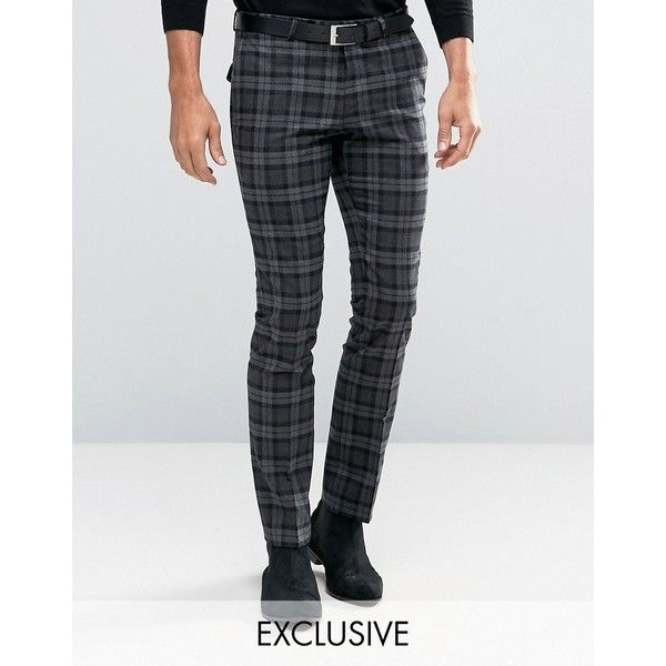 Noose & Monkey Super Skinny Pants In Plaid with Stretch ($105) ❤ liked on Polyvore featuring men's fashion, men's clothing, men's pants, men's casual pants, grey, mens zip off pants, tall mens pants, mens skinny pants, mens gray pants and mens grey wool pants