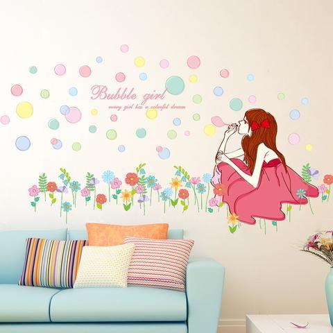 Kids Wall sticker beautiful wall sticker of girl blowing bubbles