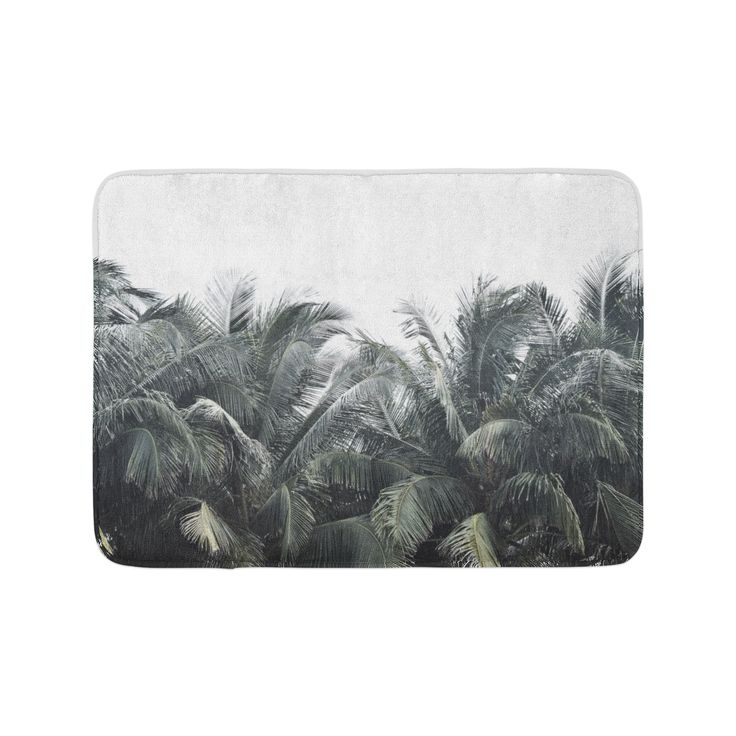 Lush beach tropical palm accents for your surf style bathroom settings, our chic and stylish bath mat ...