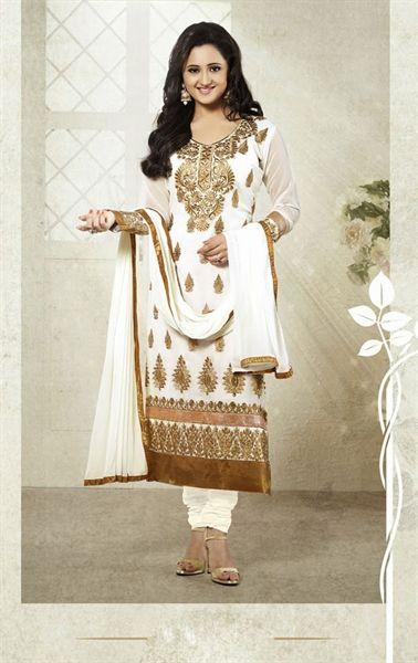 Picture of Fashionable White Wedding Churidar Kameez