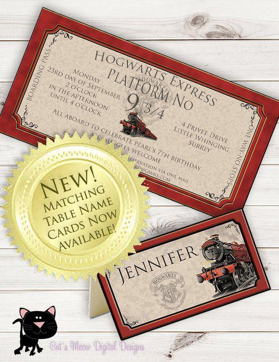 Hogwarts Harry Potter Birthday Invitation Printable Personalized