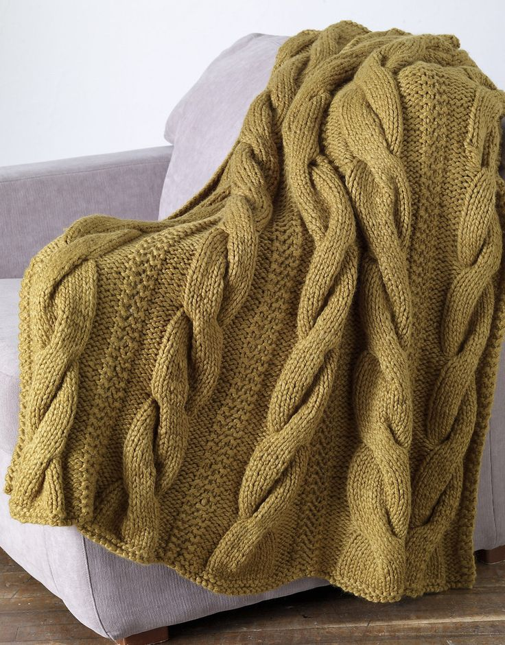 Free Knitting Pattern for Sutter's Mill Throw - Easy afghan pattern with large cables is knit in five panels and seamed. Quick knit in super bulky yarn.