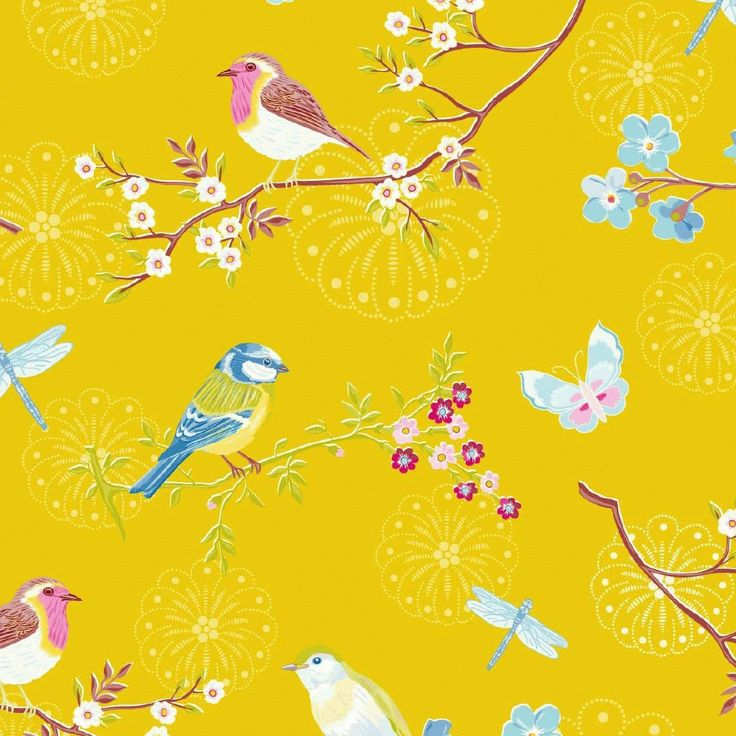 Blå tapeter : PIP yellow birds tapet