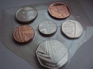 2010 UK unreleased 6 coin shield 1p - 50p sealed/mint. RARE 50P coin.