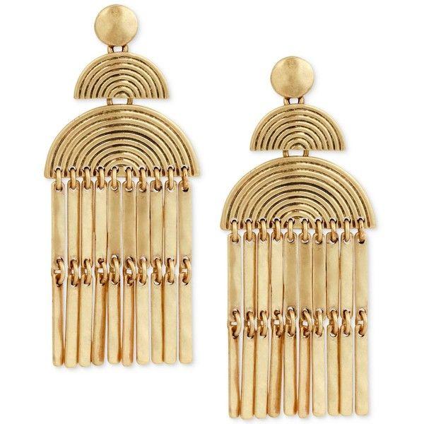 Lucky Brand Gold-Tone Fan & Bar Chandelier Earrings ($35) ❤ liked on Polyvore featuring jewelry, earrings, gold, gold tone chandelier earrings, gold earrings, gold colored jewelry, lucky brand earrings and gold chandelier earrings