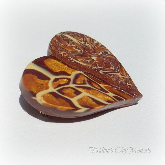 Brooch heart polymer clay fimo jewelry by EridimisClayMoments, $26.00