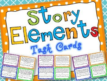 Story Elements Task Cards! A set of 24 multiple choice task cards (with recording two record sheet options and an answer key) to help your students improve their identification of common story elements. Story elements covered are Character, Setting, Problem, Solution, and Theme. Great for literacy centers and early finishers! $
