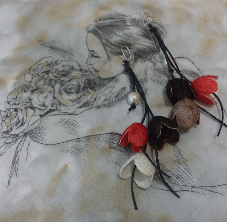 handmade silk cocoons earrings No28