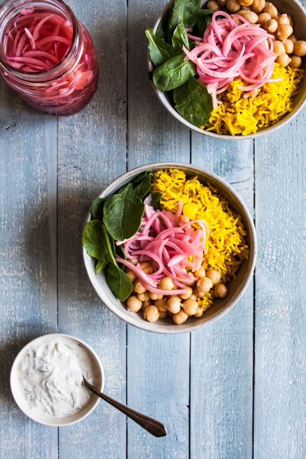 Simple Turmeric Rice Bowls with Quick Pickled Onions & Chickpeas