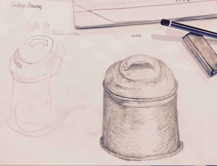 Day 3~ Contour Drawing~ Coffee Pot