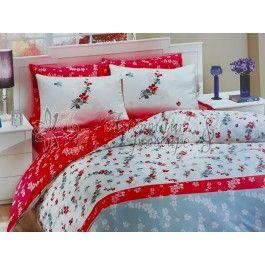 Hobby Home Aya rosu - Lenjerie de pat din bumbac ranforce 2 persoane