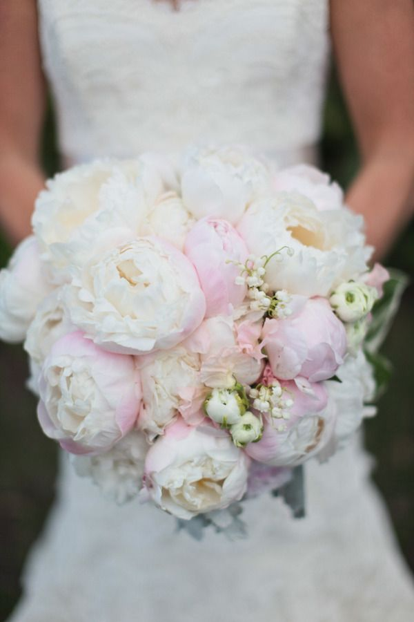 pretty, pretty peonies with a touch of lily of the valley