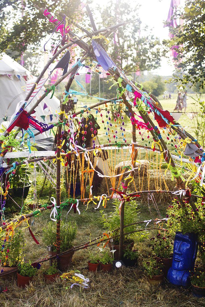 Wilderness festival children's area branches decoration