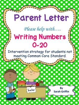 Keeping these parent letters on file is a HUGE time saver to keep open communication with parents, and document as interventions.When a student has difficulty with a skill, I like to send home a letter explaining the concern or progress expected. This kindergarten parent letter explains the Common Core Counting and Cardinality Number writing 0-20 expectations, observations and notes of concern, and lists activities or interventions to be done at home.