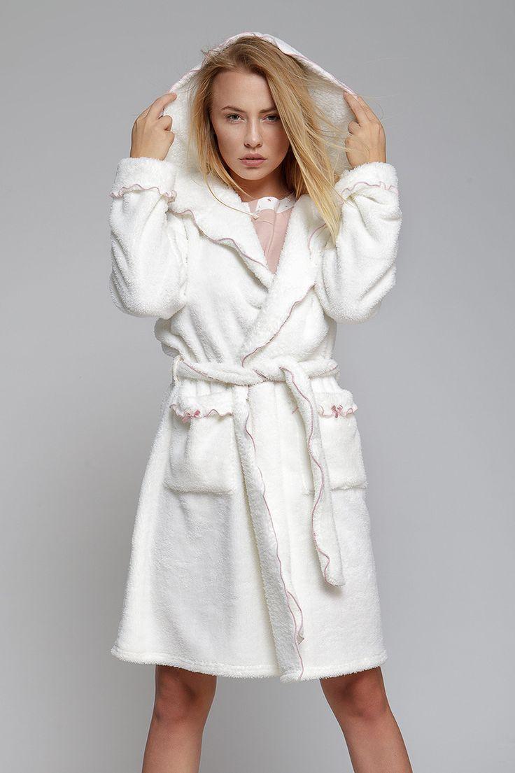 Dámský župan, velmi #huňatý s kapucí Very fluffy #bathrobe with a hood