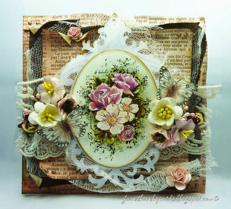 Stempelglede :: Design Team Blog: Vintage Garden Birthday Card. Rubber stamps used for this project: Vintage Garden and Vintage Baby stamp sets. 2015 © Jane Johnson