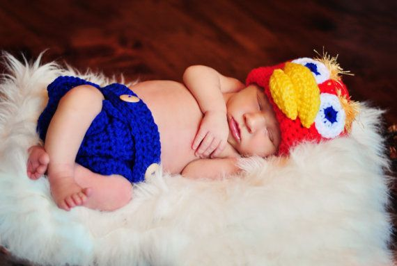 Kansas Jayhawk diaper cover and beanie set MADE by LoopLeighLoops, $25.00